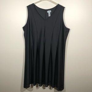 Catherine's Black Sleeveless Dress with Tucks SZ4X